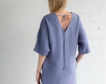 Linen Dress Motumo – 17S10 / Handmade loose linen summer dress with midi sleeves / V neckline linen dress / Washed linen dress