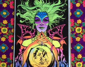 Original Vintage Black Light 1971 PSYCHEDELIC PSYCHIC Velvet Flocked Medium Tarot Poster