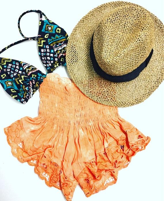 Orange Lace Shortie |shorts | orange shorts | Lace shorts|  Summer Shorts | Bali shorts | elastic shorts |