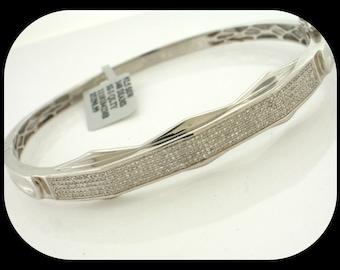 New 1.70 CT Cluster Diamond 925 Sterling Silver Hinged Bangle BRACELET