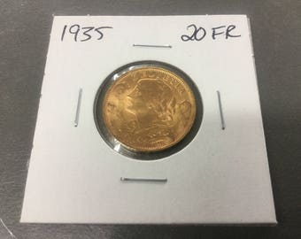 1935 20 Frank Swiss gold coin