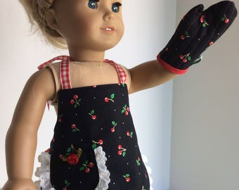 """APRON AND MITT Fits Both 15"""" and 18"""" Dolls"""