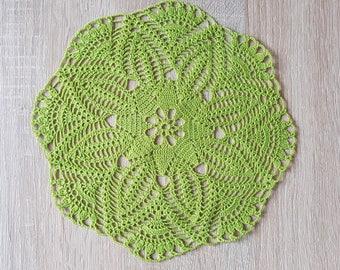 Crochet Green Round Doily Cotton Centerpiece Crochet Home Decor Table Decor made in Lithuania