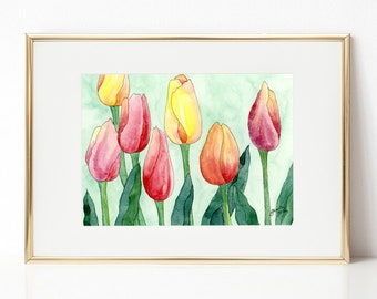Tulips DIGITAL DOWNLOAD, Spring Printable Art, Spring decor, Pink and yellow tulips, spring flowers, Easter printable, Tulips watercolor