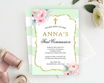 Girls First Communion Invitation, Communion Invitation, 1st Communion Invitation, Holy Communion Invitation, Printable Invitation, Pink Mint