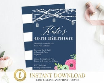 40th Birthday Invitation, Adult Birthday, Birthday Party Invitation, Surprise Birthday, Printable Invitation, 40th Birthday Invite, Floral