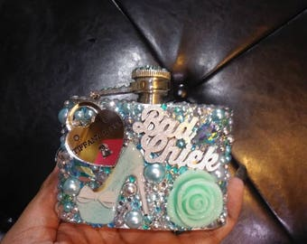 Blinged tiffany inspired flask. 5 oz.