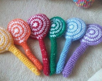 Set of 6 double-colored lollies made with crochet