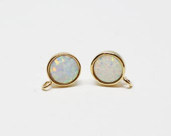 E0160/Anti-Tarnished Gold Plating Over Brass/Simple White Opal Stud Earrings/8mm/2pcs