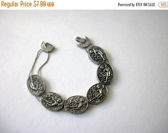 ON SALE Vintage 1950s Silver Tone Metal Angels Slider Bracelet 82016