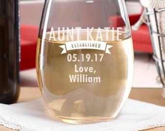 New Aunt Mug, Aunt Established Stemless Wine Glass, Custon  Mug, Cup, Personalized Mug, Aunt To Be Gift Ideas, Sister Gift, Sister Mug