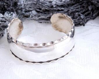 Wide Cuff Bracelet Sterling Silver