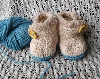 Crochet baby booties, beige and blue baby boy booties, merino wool, baby shower gift
