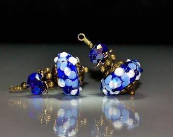 2 Mixed Blue & White Raised Flowers Vintage Style  Lampwork Glass Bead Dangles or Earrings-Handmade 16mm Lampwork Rondelle Glass Beads