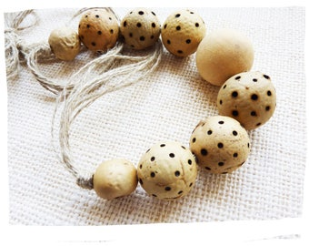 Necklace natural organic rustic plant burned and linen