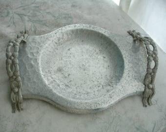 Rodney kent Hammered aluminum tray,hammered aluminum tray, hand forged aluminum tray,