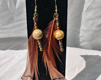 Beaded earrings,  feather earrings, drop earrings, feathers, jewelry, jewellery