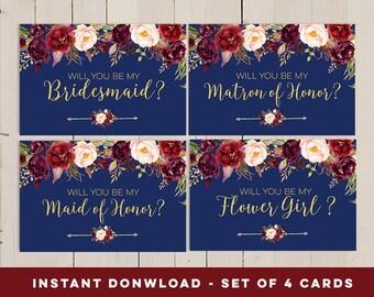 Navy Will You Be My Bridesmaid printable set, Bridesmaid card instant download, Marsala Navy Boho Printable Card, Matron of honor card