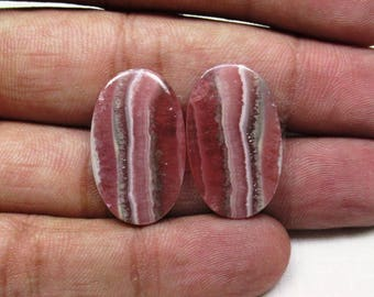 33.50 CTS Natural Rhodochrosite Oval shape Matching Pair Loose semi precious gemstone size 15 x 25 x 3 mm ET 1567