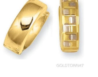 14kt Yellow Gold Shiny Textured Huggie Earring with Square Pattern