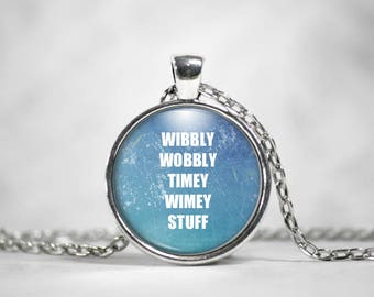Wibbly Wobbly Timey Wimey, Doctor Who, 25mm Silver Pendant, Whovians, TARDIS, Gifts For Her, Quote Pendant
