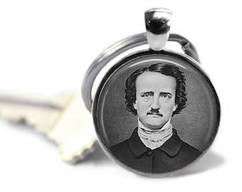 Edgar Allan Poe, 25mm Silver Keychain, Steampunk Jewelry, Literary Keyring, Quoth the Raven, Nevermore, Gothic Keyring