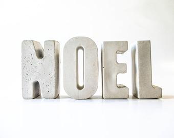 Noel decor - Noel letters - Christmas decor - Letters decor - Noel decorations - Holiday decor - Cement letters - Concrete letters