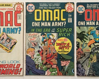OMAC One Man Army Corps #s 1, 2, 6 Lot of 3 DC Bronze Age Comic Books 1974-1975