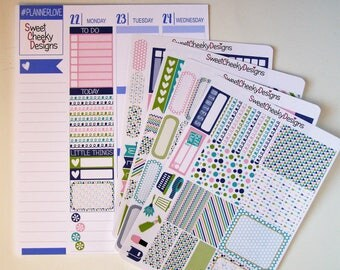Navy Pink and Green Kit!  Available for Erin Condren Life Planner or MAMBI/Happy Planner