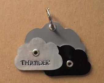 Thunder Clouds Lightning Bolt Pet Tag Dog ID Zeus Thor Metal
