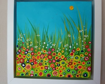 New Day. Original acrylic floral meadow painting on box canvas.