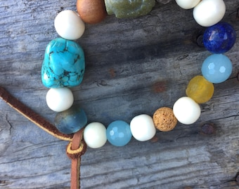 Magnesite  Jade Buddha Gemstones African Recycled Trade Glass Hand Carved Bone & Sandalwood Leather Agates Lava Zen Yoga Boho Stack Bracelet