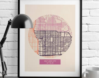 Salt Lake City Map - US Map Decor - Map Prints - Utah - Minimalist Poster - Romantic Wall Art - City Maps - Home Decor - Wall Decor