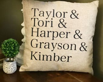 Custom pillow case, personalized pillow cover, family names pillow, personalized  pillow