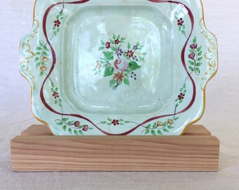 Adams China Co. of England, Calyx Ware, Ribbon Pattern, Hand-painted, Square Platter, Early 1900s, Old Mark