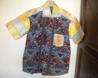 shirt short sleeve aficain fabric hand-made for small g
