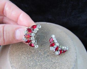 Vintage Pair Of Red & Clear Rhinestone Clip Earrings