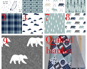 Adventure in dusty blue crib bedding, Lumberjack,,  woodland nursery, plaid, modern nursery, quilt, bumpers
