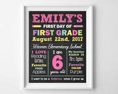 First Day of School, Chalkboard School Poster Sign, 1st Day of School Board Sign, Girl Back to School, Digital Printable, ANY GRADE
