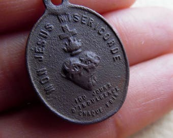 Antique bronze medaille mon jesus misericorde