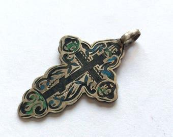 Antique Russian Imperial 84 silver enamel cross master В.Ч صليب