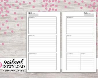 Planner Printable - Weekly Inserts - Filofax Personal - Kikki K Medium -3.75 x 6.75 in- Design: Wanderlust