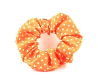 Scrunchie - orange and white polka dots
