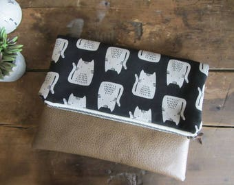 Large Fold Over Clutch Bag - Black Cats with Tan Vegan Leather Bottom, Foldover Zipper Clutch, Black Clutch Bag