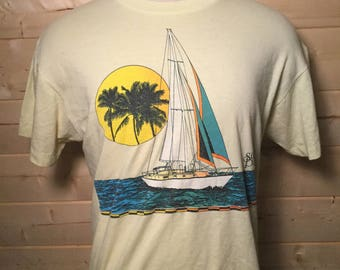 Vintage 1980's Sun Pacific Surf 50/50  T-Shirt Great Colors Made in USA