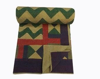 Handmade Applique Patchwork Embroidered Bedsheets,Bedcover,designer bedspreads,Kantha Quilt Gypsy bedding