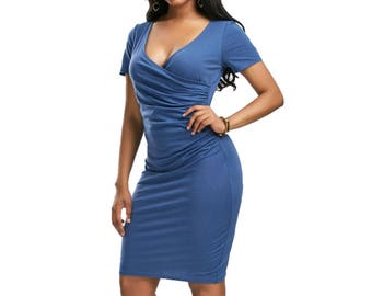 Blue Short Sleeve Thigh/Knee Length V Neck Casual Bodycon Dress - Blue