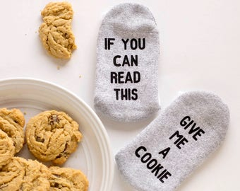 If You Can Read This Socks Kids - Give me a Cookie - Funny Socks for Kids - Novelty Socks for Kids - Child Valentines Gift