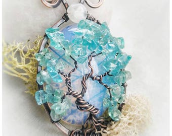 Opalite and Apatite Tree of Life Pendant // Rainbow Moonstone Raw Copper Wire Wrapped Jewelry