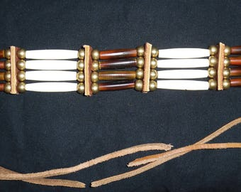 "Choker 12.5"" (brown/white/brass)"